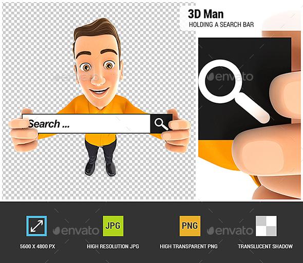 3D Man Holding a Search Bar