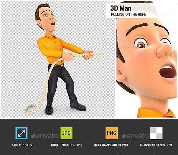 3D Man Pulling on the Rope