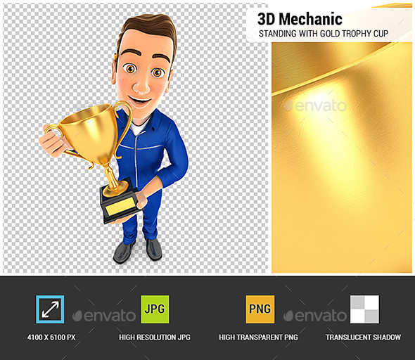 3D Mechanic Standing with Gold Trophy Cup