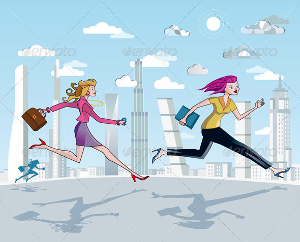 Businesswomen  Running And Skyscrapers - Business Conceptual