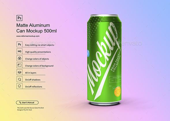 Matte Aluminum Can Mockup 500ml