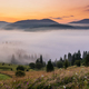 Misty dawn in the mountains. Beautiful Autumn Landscape - PhotoDune Item for Sale