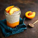 Portion healthy vegan chia pudding with almond milk, vanilla and peaches - PhotoDune Item for Sale