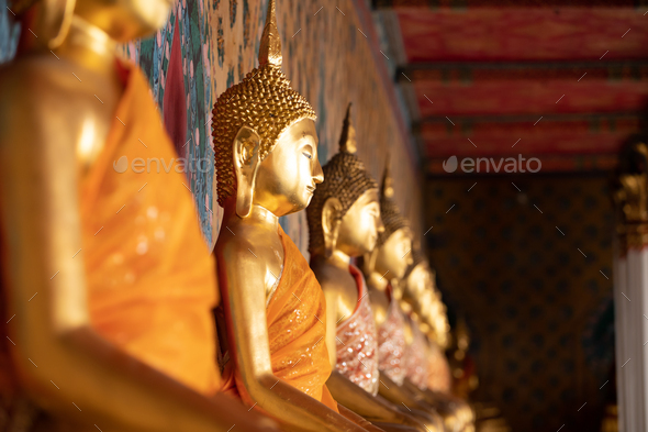 Ancient Buddha's statue at Wat Pho Temple, Bangkok, Thailand. - Stock Photo - Images