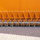 Orange shopping cart stacked by the entrance - PhotoDune Item for Sale