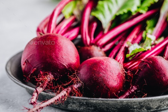 Bunch of fresh raw organic beets with leaves - Stock Photo - Images