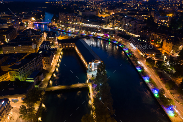 Aerial  night view of Geneva city water fountain in Switzerland - Stock Photo - Images