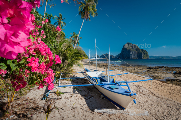 Native Banca Boat And Vibrant Flowers At Las Cabanas Beach With Amazing Pinagbuyutan Island In