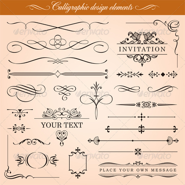 Calligraphic Design Elements - Borders Decorative