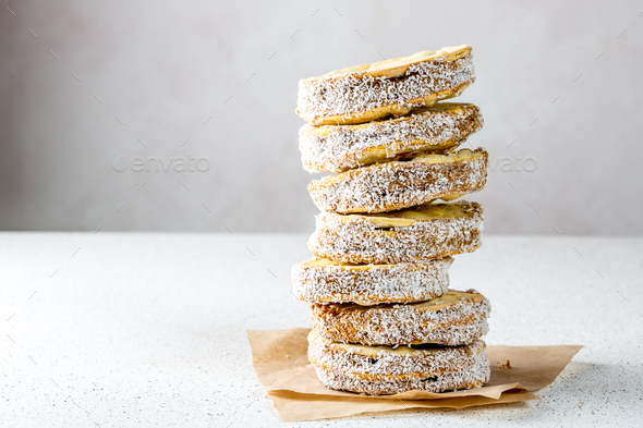 Latin American Peruvian Chilean Argentine Peruvian sweet Alfajores cookies whith manja - Stock Photo - Images