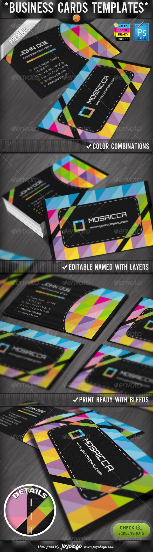 Colorful Mosaics Abstract Business Cards Designs - Creative Business Cards