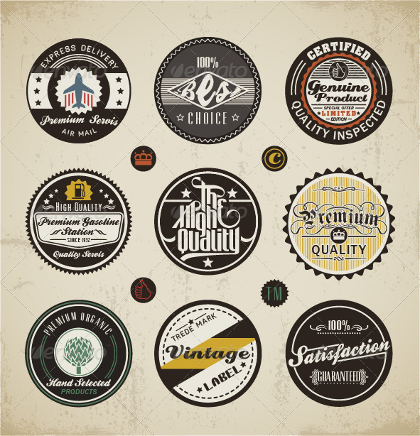 Retro Badges and Labels Set - Retro Technology