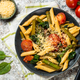 Vegan pasta penne with spinach, asparagus and tomato - PhotoDune Item for Sale
