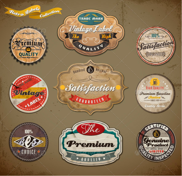 Retro Styled Old Papers Label Collection - Badges & Stickers Web Elements