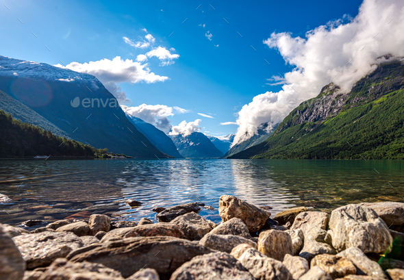 lovatnet lake Beautiful Nature Norway. - Stock Photo - Images