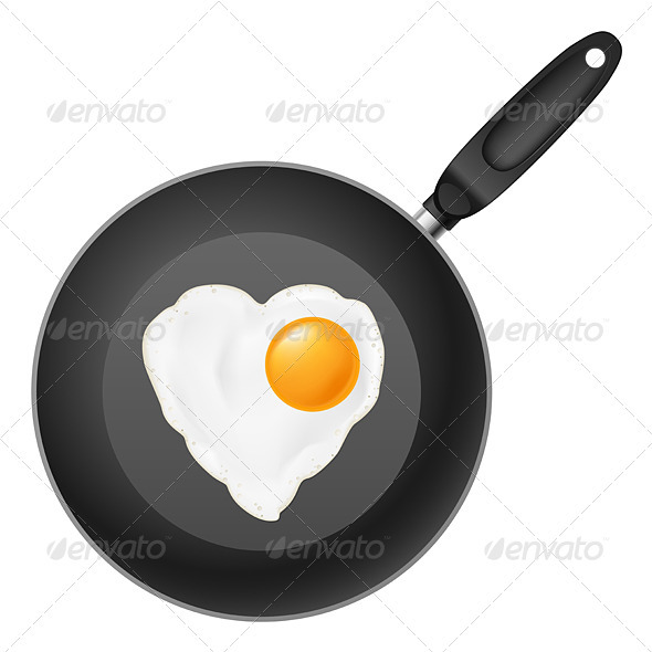 Frying pan with egg - Food Objects