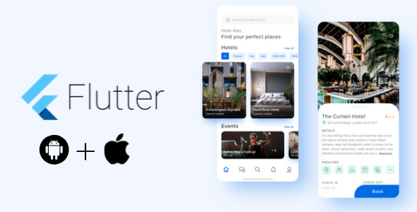 Flutter android and ios Hotel Booking UI Template