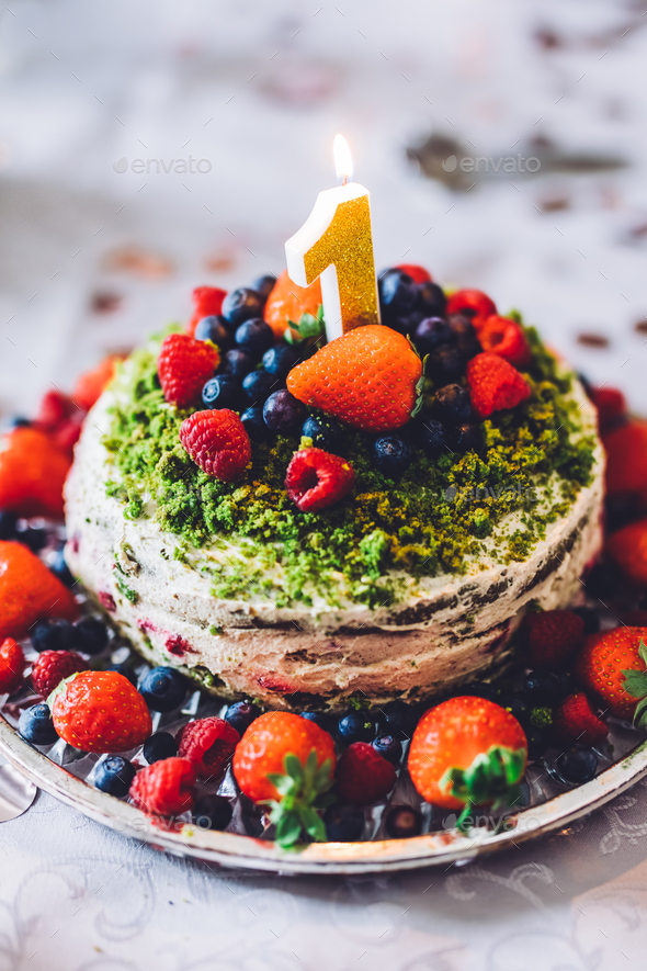 Superb Birthday Cake With One Year Figure And Fresh Fruits Stock Photo By Funny Birthday Cards Online Inifofree Goldxyz