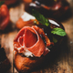Crostini with prosciutto, goat cheese and figs on wooden board - PhotoDune Item for Sale
