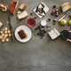 Cheeses, honey, fruit, nuts, crackers and wineglass in female hand - PhotoDune Item for Sale