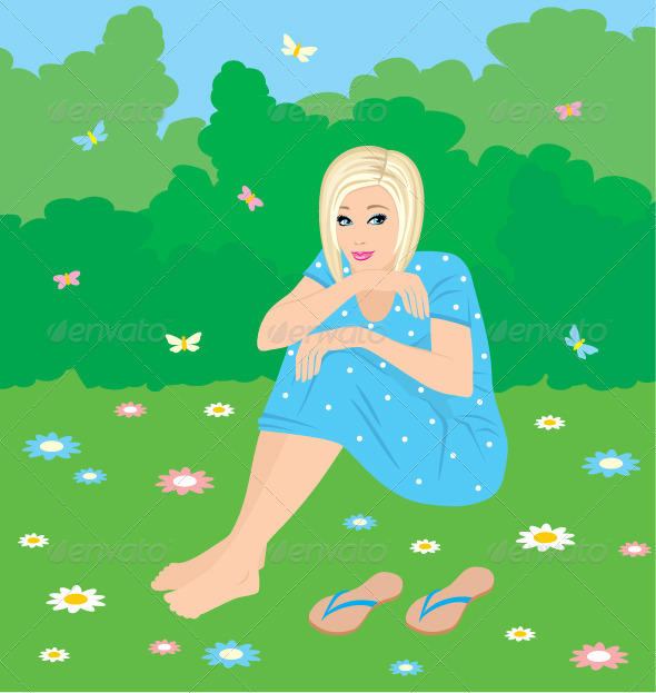 Girl on a grass - People Characters