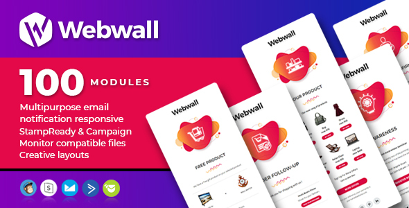 Webwall- 100 Responsive Email Notification modules with StampReady & CampaignMonitor compatible file