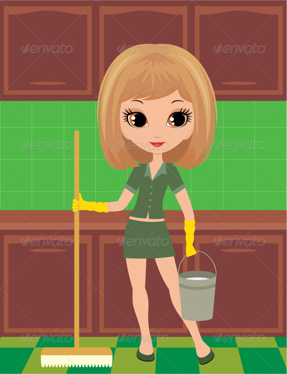 Girl cleans in rubber gloves - Characters Vectors
