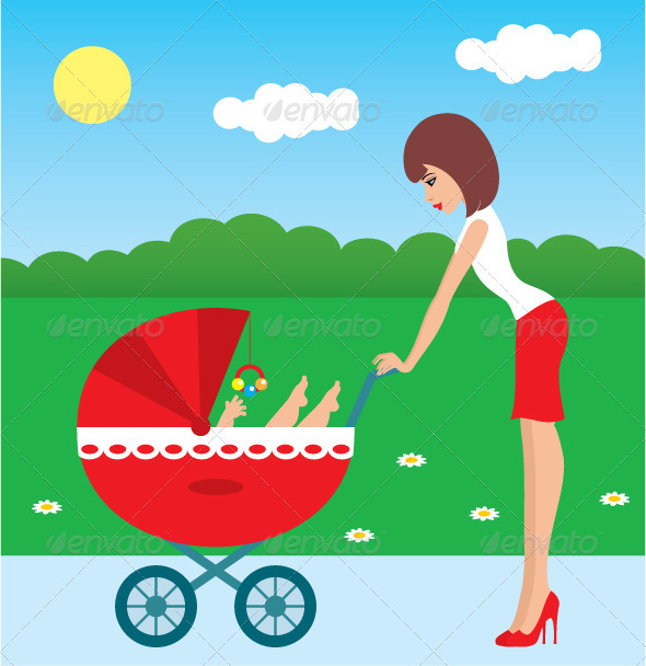 Mother walks with the child in a carriage - People Characters