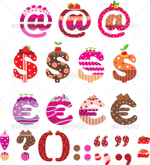 Sweet punctuation marks, dollar sign and euro - Decorative Vectors