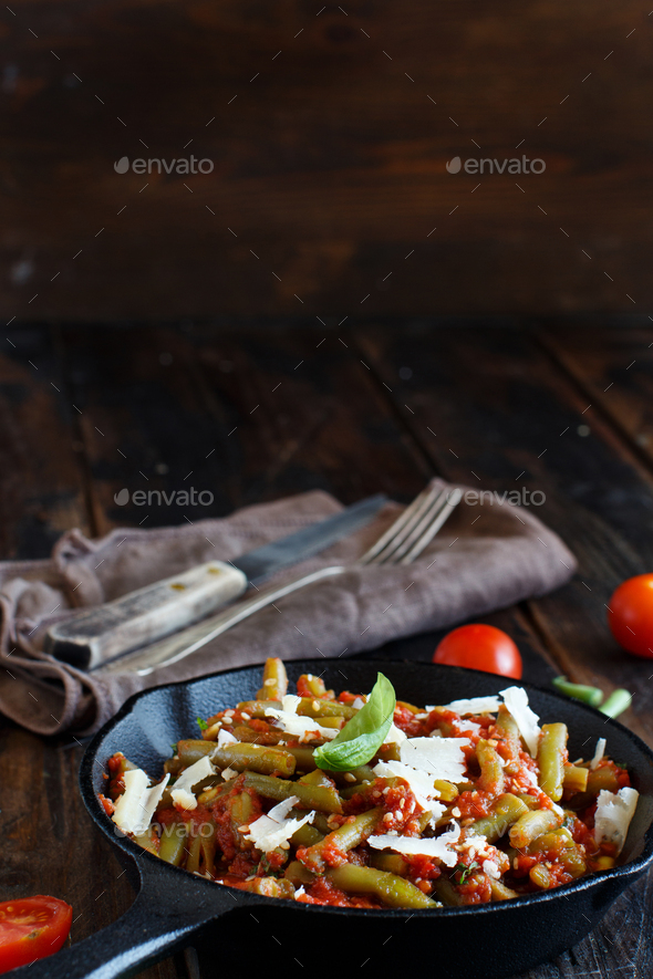 French beans with tomato - Stock Photo - Images