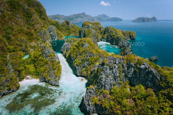 El Nido, Palawan, Philippines. Aerial view of beautiful big lagoon surrounded by karst limestone - Stock Photo - Images