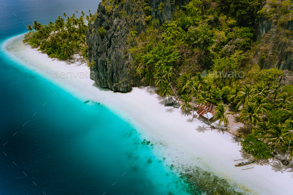 Pinagbuyutan Island El Nido Palawan Philippines Aerial Drone Photo Of Tropical Hut Surrounded By
