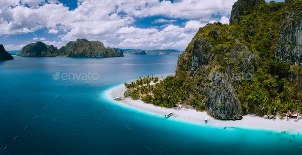 El Nido Palawan Philippines Aerial Drone Shot Of Ipil Beach Located On Pinagbuyutan Island