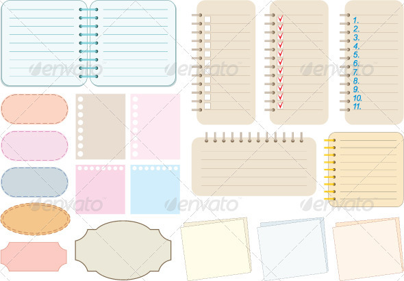 Scrapbook elements. Paper and notebooks - Characters Vectors