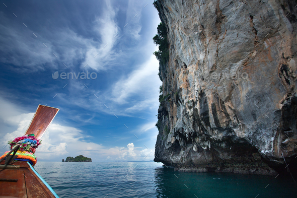 Beaty limestone rock in the ocean, Krabi, Thailand. - Stock Photo - Images