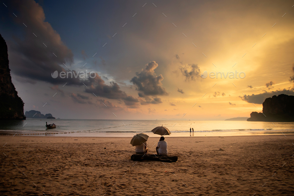 Beautiful sunrise over the tropical beach. - Stock Photo - Images