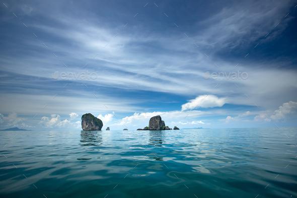 Beaty limestone rock in the ocean, Krabi, Thailand. - Stock Photo - Images