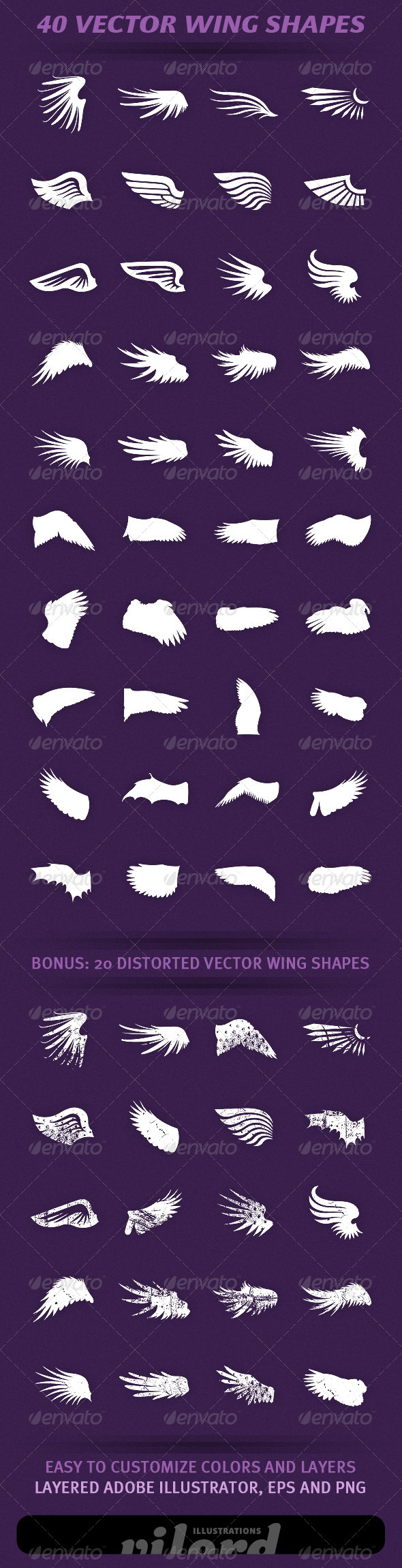40 Wing Shapes Vol.2 - Decorative Symbols Decorative