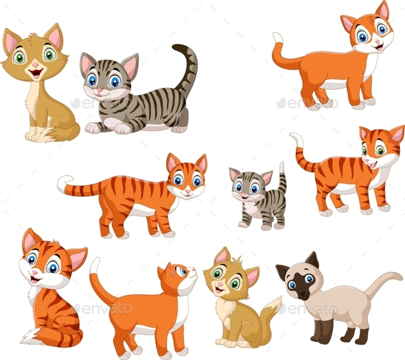 Set Of Cartoon Cats By Tigatelu Graphicriver