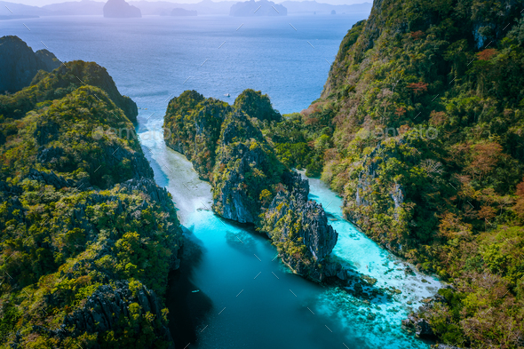 Aerial Drone View Of Entrance To Big And Small Lagoon Surrounded By Steep Cliffs El Nido Palawan