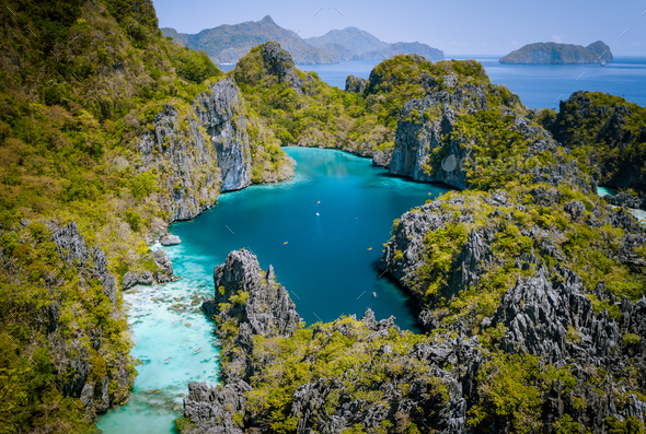El Nido, Palawan, Philippines. Aerial drone view of beautiful big lagoon surrounded by karst - Stock Photo - Images
