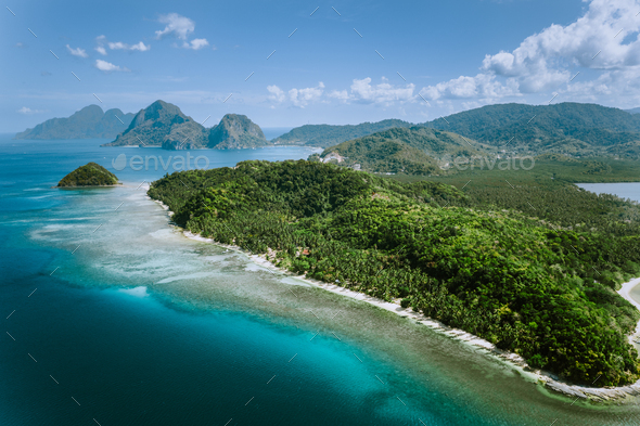 Aerial panoramic view of Palawan amazing coastline, majestic limestone cliffs and sea bay in El Nido - Stock Photo - Images