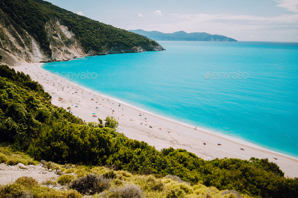 Famous Myrtos Beach. Must see visiting tourism location on Kefalonia Greece - Stock Photo - Images