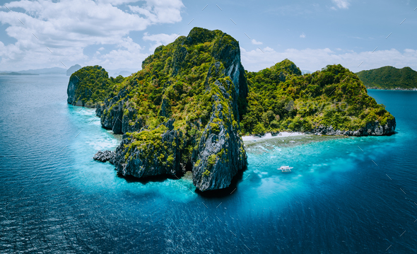 Aerial panorama of tropical paradise Entalula Island and clear blue water El Nido, Palawan - Stock Photo - Images