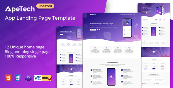 Apetech - App Landing Page by HtmlLover