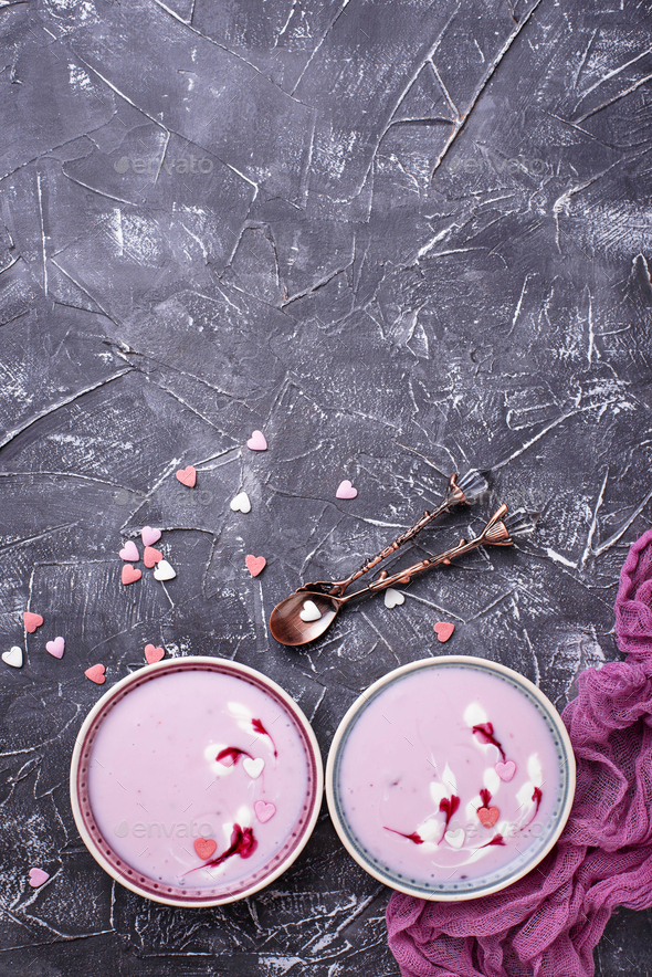 Sweet berry smoothies in bowls. Healthy dessert - Stock Photo - Images