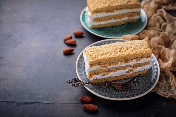 Two pieces of sweet homemade cake - Stock Photo - Images