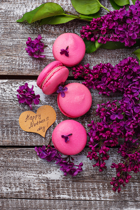Mothers day background with  macaroons and lilac - Stock Photo - Images