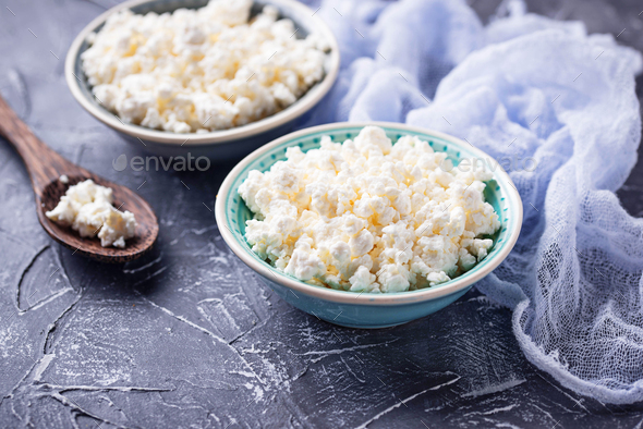 Bowl with homemade cottage cheese - Stock Photo - Images