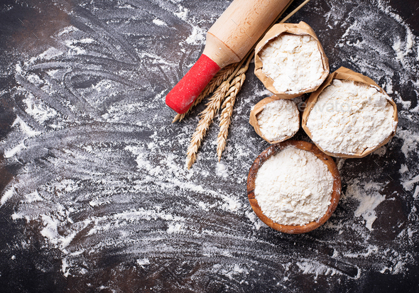 Wheat flour, ears and rolling pin - Stock Photo - Images